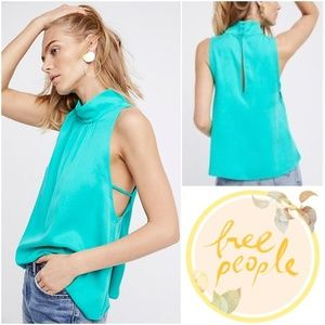 Free People Palm Breeze Sleeveless Mock Neck Tank